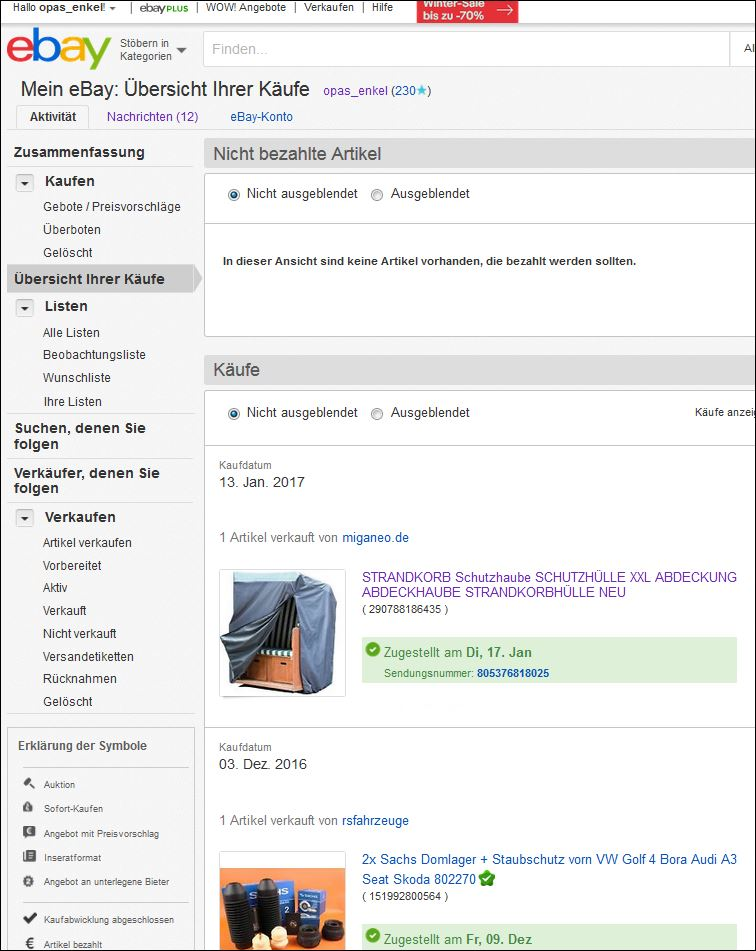 Gelöst Artikel Aus Kaufübersicht Nach Rückgabe Verschwund Ebay