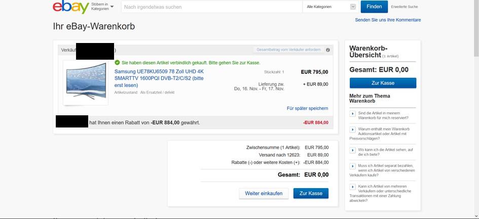 Rückerstattung Ebay
