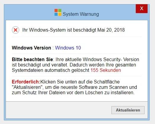 System Warnung Ihr Windows System Ist Beschädigt