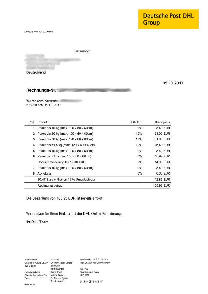 Versand Uber Ebay Rechnung Der Versandkosten Druc Ebay Community